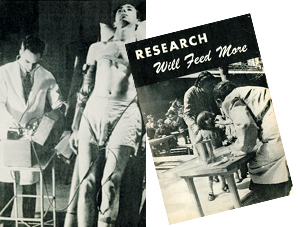 "1) Skinny man with medical wires attached to him and man in lab coat. 2) Book Cover ""RESEARCH Will Feed More""."