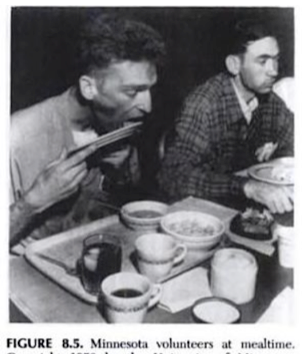 Man licking plate clean in the Minnesota Starvation Experiment