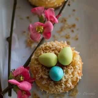 Mini cheesecakes topped with little coconut nests for Easter. Garnished edible with quince flowers.