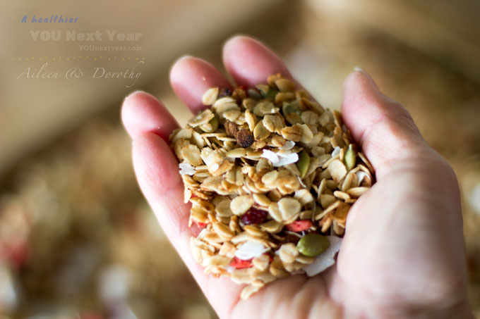 A handful of goodness! Fragrant granola, still warm from the oven
