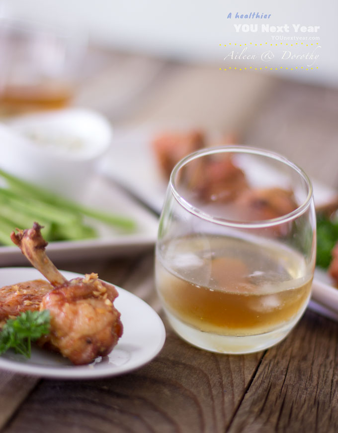 Bourbon Bacon Old Fashioned on the rocks with crispy oven-baked chicken wings