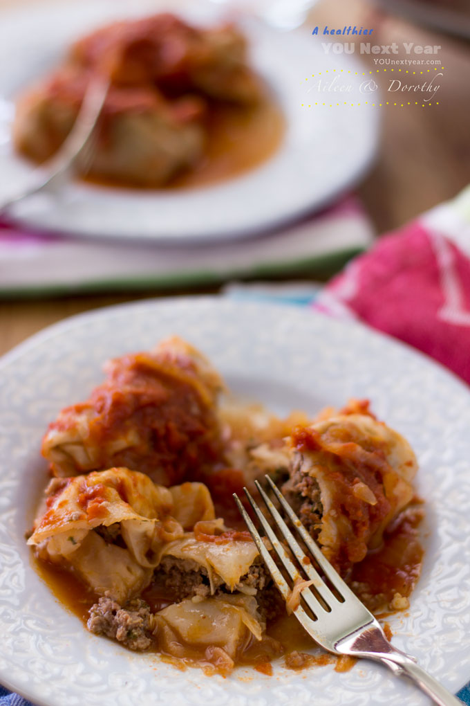 Bite into tangy cabbage rolls, topped with tomato, onion and dill sauce.