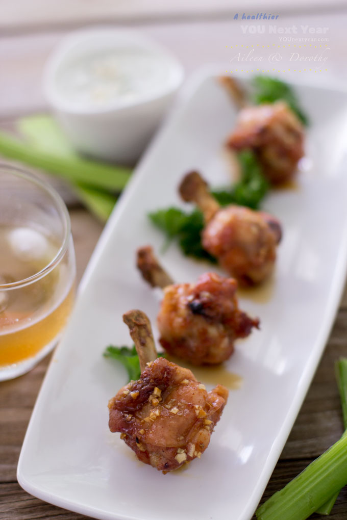 Bourbon-Glazed Chicken Drumettes With Blue Cheese Dipping Sauce Recipe ...