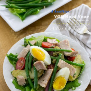 Aileen's Tuna Salad Niçoise - Big yet light. French beans, fingerling potatoes in three colours, capers, eggs, grapes tomatoes, lettuce and fresh tuna - all tossed in tangy vinaigrette.