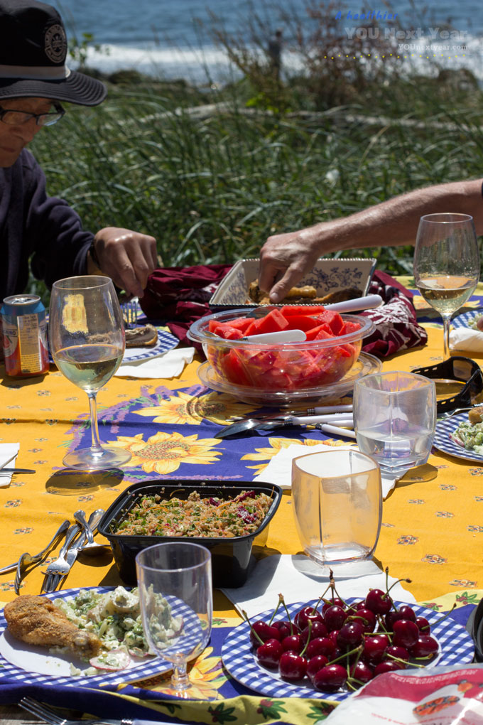 Digging in at our picnic! Sunny yellow and cobalt blue table cloth, baked chicken, quinoa salad and red watermelon.