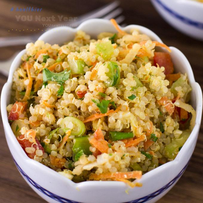 Veggie-Rich Quinoa Salad with Feta & Almonds. Closeup