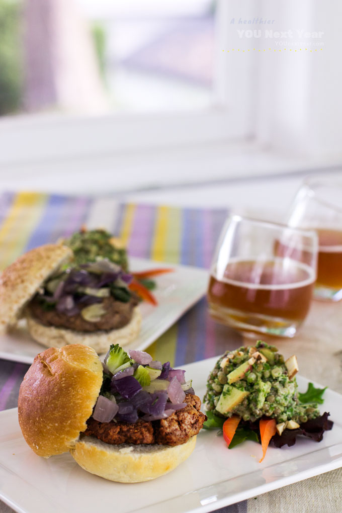 Summer burgers with sautéed onions & kale-barley-lentil salad with ice-cold beer