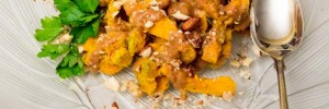 Roasted kabocha squash pieces, sprinkled with toasted almonds and drizzled with Grant's delicious dressing. Garnished with Italian parsely