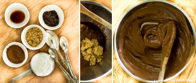 Process for making easy chocolate mousse: 1) All ingredients - cocoa, vanilla & rum, brown sugar, plain Greek yogurt, chopped chocolate bar. 2) All ingredients in a mixing bowl, except for the chocolate bar bits. 3) Creamy chocolate mousse after mixing.