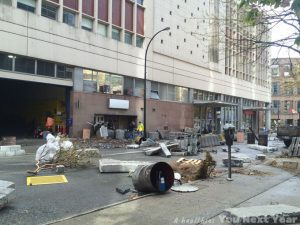 tv series film set, vancouver, disaster, canada post office, concrete debris, crashed trucks, overturned mail boxes