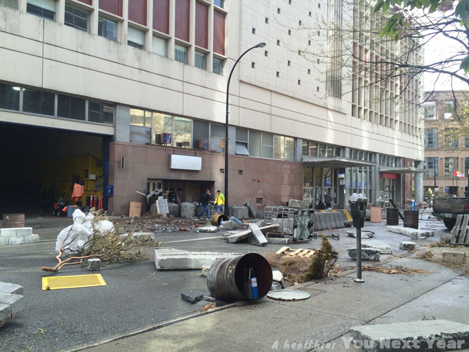 tv series set, vancouver, disaster, canada post office, concrete debris, crashed trucks, overturned mail boxes