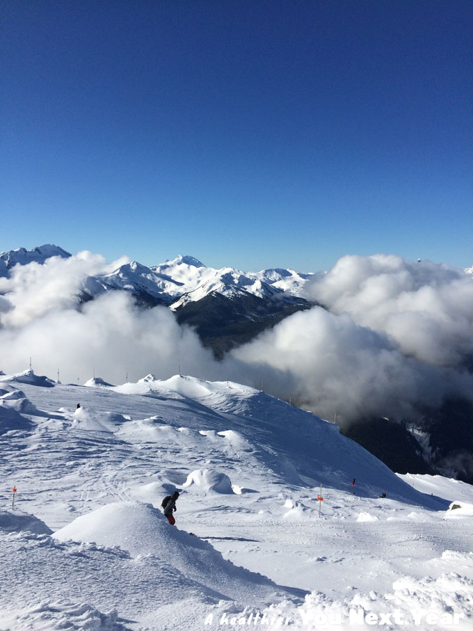 Mountains, sky and snow at the top of Whistler