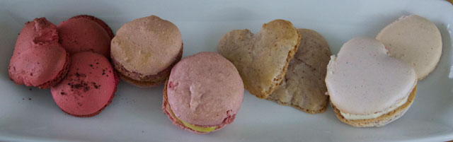 Aileen's raspberry and strawberry macarons experiments - red & pink strawberry, beige & pink raspberry
