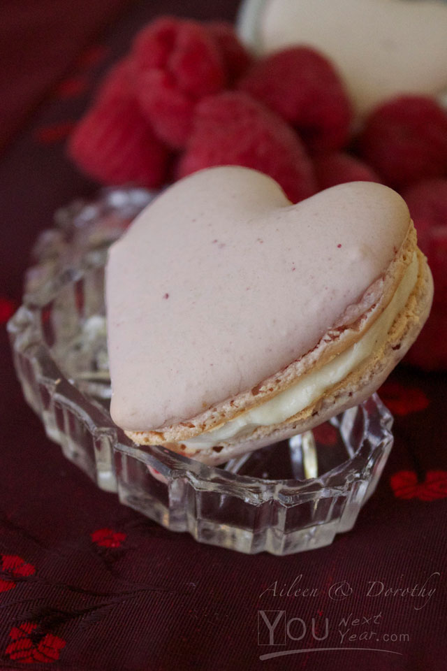 Aileen's Raspberry Valentine's Macaroons filled with Vanilla Cream - fresh raspberries in background, on deep red silk brocade cloth