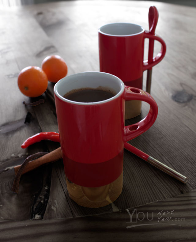 Mexican hot chocolate flavoured with vanilla pod, cinnamon sticks, orange zest and a bit of heat. -In red & silver cups with oranges ingredents scattered. YOUnextYear.com