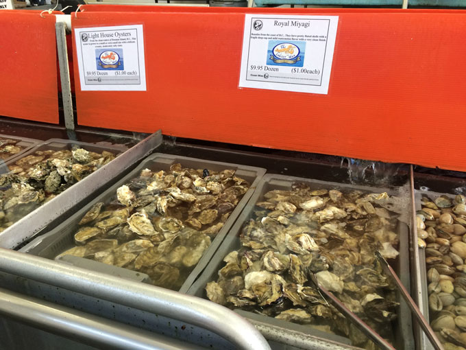 You can smell the freshness of these delicate British Columbia Royal Miyagi oysters, sitting in flowing salt water bath.