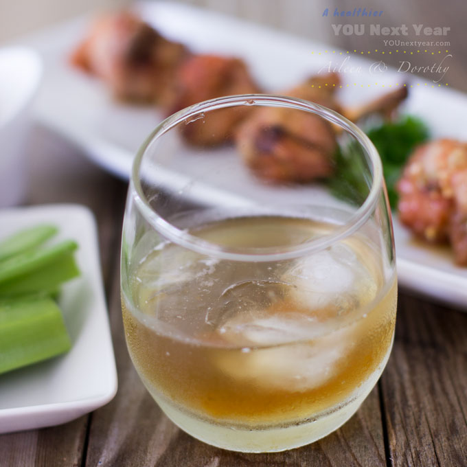 Bourbon Old Fashioned, infused with bacon & maple syrup. Served alongside crispy chicken wings & celery with blue cheese dip.