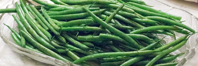 Green Beans, steamed until tender crisp, then quickly tossed in olive oil and sea salt