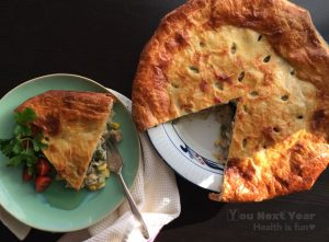 Chicken Veggie Pot Pie with Golden Crispy Puff Pastry